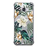 Galaxy S8 Plus Case, KIOMY Crystal Clear Case with Design Palm Floral Texture Bumper Protective Shockproof Case for Samsung Galaxy S8 Plus Flexible Soft Air Cushion Gel Silicone Flower Cover