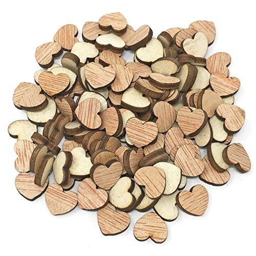 Lot de 100 cœurs en bois 10 mm Style shabby chic vintage