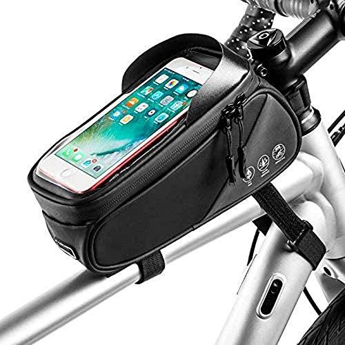 JY Mtb Impermeable Gran Capacidad Bolso Del Marco Bag Bolsa de Rack Frontal de Tubo Bolsa Bolsa de Marco de Barra Transversal Portátil Bolsas de Bicicleta Bolsa de Teléfono con Pant