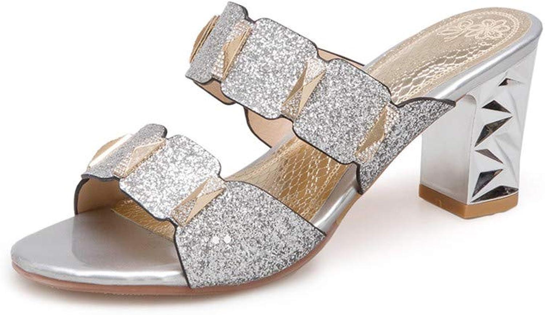 Jiahe Damen Sandalen Flip Flops High Heel Dick mit Hohlen Sandalen mit Mode Pailletten Größe1.5-10.5 UK,Silber,36