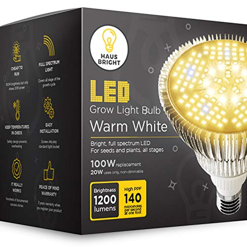 LED Grow Light Bulb - for Indoor Plants Full Spectrum Lamp | Seed Starting, House, Garden, Vegetable, Succulent, Hydroponic, Greenhouse & Medicinal Growing | 100W E27 Warm White by Haus Bright