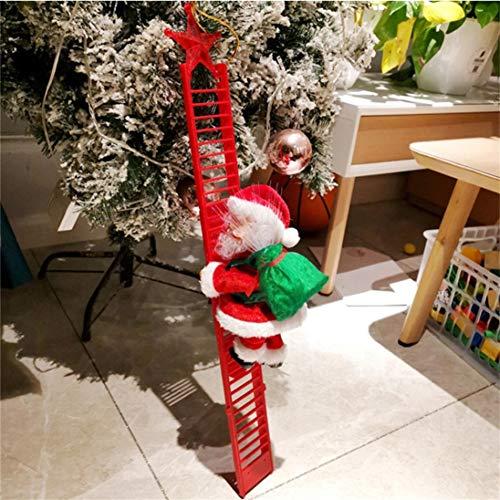 Hetangyuese Elektrische kletternde Leiter Weihnachtsmann auf Leiter mit Geschenkbeutel, Weihnachtsbaumschmuck Christmas Dekoration Plüschpuppe, Spielzeug für Weihnachten, Zuhause Baum Dekoration