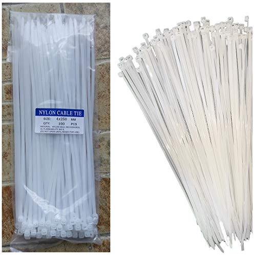 Bridas blancas de 250 mm x 4 mm (100 unidades), bridas de cremallera resistentes con resistencia a la tracción de 40 libras, con cierre automático de nailon para oficina, hogar y exterior