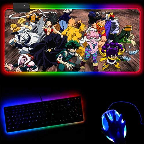 Zwyzspd Alfombrillas de ratón Led Grande Anime My Hero Academia RGB Alfombrilla De Ratón para Juegos Extendida 14 Modos De Iluminación Alfombrilla De Teclado Inalámbrico 300X700 Mm (A)