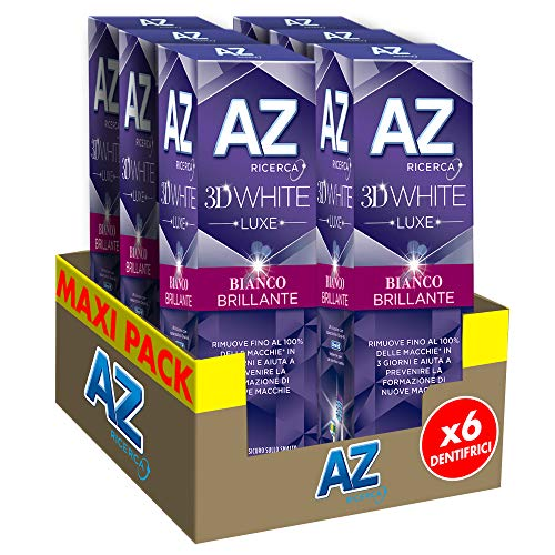 Az Ricerca 3D White Luxe Bianco Brillante con Azione Sbiancante Denti Professionale 6 x 75...