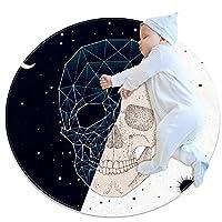 ラウンドソフトエリアラグ3Ftfor Kids Baby Girls Teen's Room Circle Nursery Rug for Bedroom Living Room Home Decor、Day Night Constellation Skull Contrast