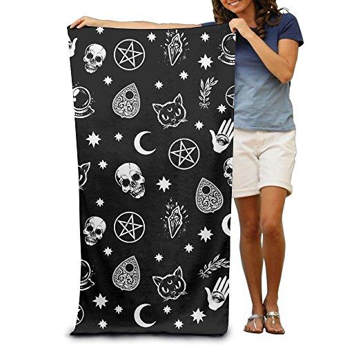 Badetuch Totenkopf Katze Mond Gothic Muster schwarz gemustert weich Strandtuch Handtuch mit einzigartigem Design