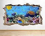Peces acuario vida marina submarino lindo pasillo ventana pared calcomanía 3D arte pegatinas habitación de vinilo-PegatinasDe Pared Calcomanía Decoración - 60x90cm