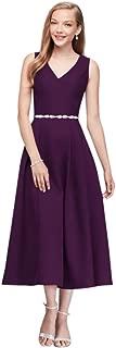David's Bridal V-Neck Mikado Tea-Length Bridesmaid Dress Style OC290027