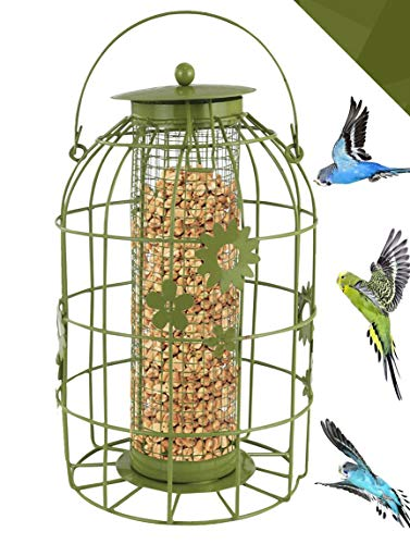 FB FunkyBuy Bloem Kooi Eekhoorn Bestand Bewijs Bewijs Wilde Vogelmoer Zaad Vet Bal Feeder (Flower Cage Pindakaas)