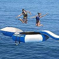 10フィートのインフレータブルウォータートランポリン、インフレータブルウォーターフィットネススイミングプラットフォーム、スライドチューブ付きトランポリンジャンププラットフォーム、ダイビングピローバッグ