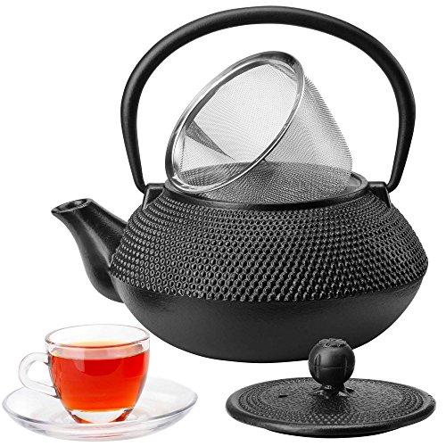 VonShef Japanische Teekanne Teekessel Tetsubin aus Gusseisen Schwarz für 5 Tassen (0,8l)