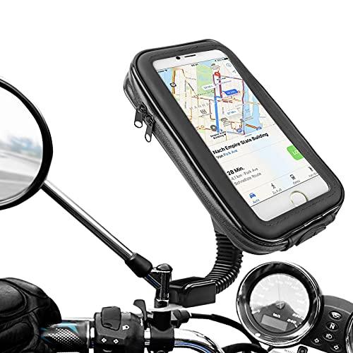 "Soporte Movil Moto, laxikoo Universal Soporte Moto Movil Impermeable 360°Rotación Anti Vibración Soporte Smartphone Moto con Pantalla Táctil para Telefono hasta 6.5"" Pulgada"