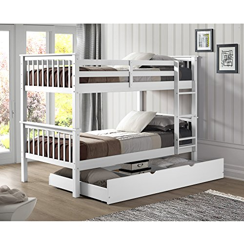 Walker Edison Resende Mission Style Solid Wood Twin over Twin Bunk Bed with Storage Trundle Bed, Twin, White