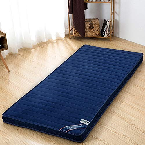AD&HD Flannel Floor Foldable Mattress, Breathable Folding Tatami Mattress Topper Portable Sleeping Pad Thick 6cm for Home Student Dormitory (Color : B, Size : Twin)