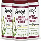 Konsyl Daily Psyllium Fiber Supplement Powder | All-Natural, Soluble, Gluten-Free & Sugar-Free | 3 Units - 402g
