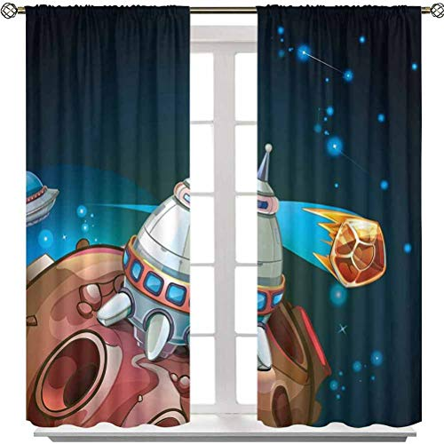 Aishare Store Rod Pocket Window Panels, Spacecraft Planets Outer Space Theme Cute Rocket Stars Galaxy Cosmic Illustration, 54 Inches Long Noise Reducing Blackout Drapes for Living Room(2 Panels)
