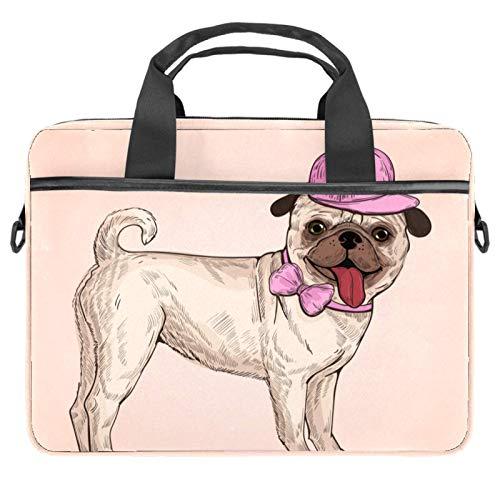Lurnies Schöne Mops Hund rosa Kappe Computertasche Einzigartig gedruckt Kompatibel mit 13-13,3 Zoll MacBook Pro, MacBook Air® Notebook 28x36.8x3 cm