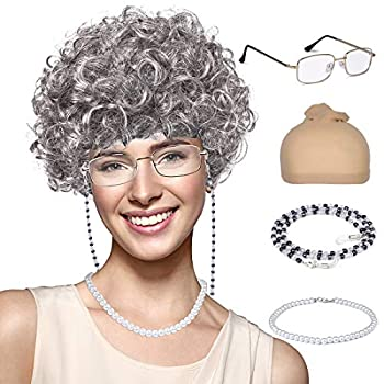 Old Lady Wig Granny Cosplay Wig with Hair Rollers for Halloween Costume Dress Up Party