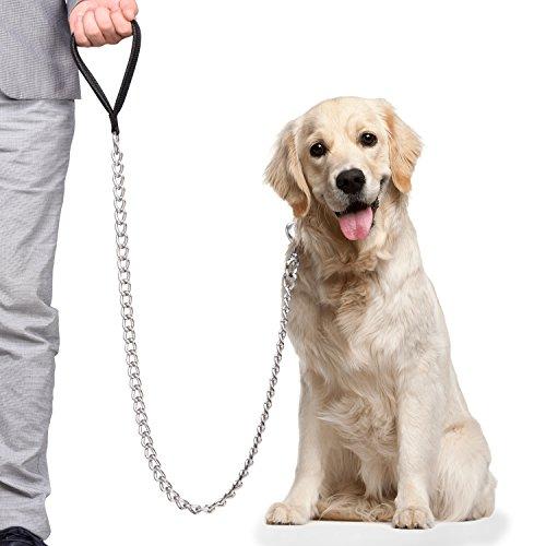 CtopoGoリード 犬用リード 愛犬用 大型専用 30kg以上 適用 PUレザー 金属製 5.0mm x 1.2cm 長さ 訓練しつけ...