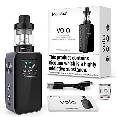 E Shisha Manvap Vola 100W E Zigarette Starter Set Ohne Nikotion E Zigarette 2ml TF Verdampfer Tank Box Mod mit Regelbare Watt LED Bildschirm,Verschiedene Ausgabemodi VW/Ni/SS/TCR, Ohne liquid, Grau