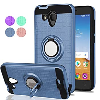Alcatel Tetra 5041C Case,Alcatel IdealXCITE/Alcatel CameoX/Verso/Ideal Exite/5044R Case,YmhxcY 360 Degree Rotating Ring & Bracket Dual Layer Resistant Back Cover for 5041C-ZH Metal Slate