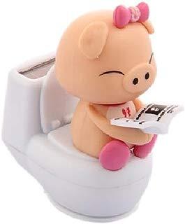 GlobalDeal Lovely Cartoon Pig On The Toilet Solar Doll Car Ornament Desktop Decoration - Pink