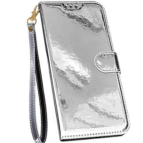 Ysimee Bunt Hülle kompatibel mit Samsung Galaxy A71 Handyhülle - Spiegel Design Handy Tache [PU Leder] [3-Kartenfächer] Flip Case Cover Schale Etui Schutzhülle Lederhülle Magnet Klapphülle, Silber