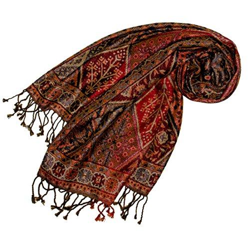 Lorenzo Cana Lorenzo Cana - Luxus Damen Pashmina Schal Schaltuch aus Seide und Wolle 70 cm x 190 cm Braun Bronze Paisleymuster Schaltuch Stola Umschlagtuch gewebt 78097