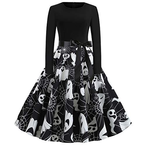 EUCoo - Vestido para disfraz de Halloween o mujer, vestido de cctel, estilo Halter, para mujer, vestido de fiesta vintage 1950, con estampado de Audrey Hepburn con pin-up navideo Negro XXL