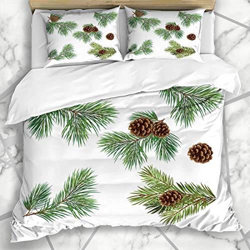Soefipok Conjuntos de Funda nórdica Cono Verde Ramas de árboles de Navidad...