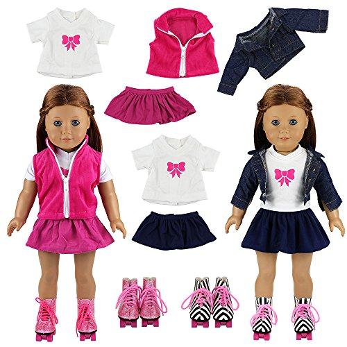 Miunana 2 Sets Schlittschuhe + 2 Jacken + 2 Hemden + 2 Röcke für 45,7 cm American Girl Ostergeschenk