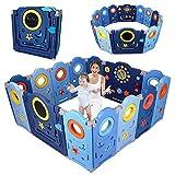 YOLEO Laufgitter Laufstall Baby Absperrgitter Krabbelgitter Schutzgitter für Kinder aus Kunststoff mit Tür Spielzeugboard 14-Paneele mit Uhr Tafel(Blau)