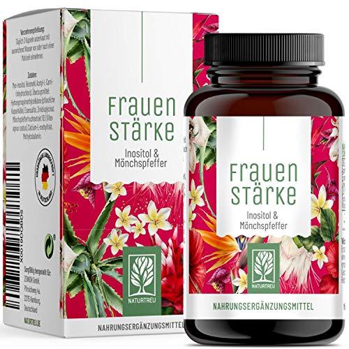 Frauenstärke Myo Inositol & Mönchspfeffer hochdosiert - 90 Frauen Vitamine Kapseln mit L-Carnitin, Folsäure, B12 & Eisen - Vitex Agnus Castus ab PMS