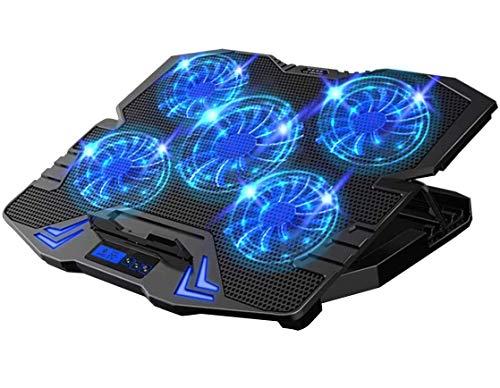 Enfriador para Laptop, Sebami Base de refrigeración para ordenador portatil con 5 Ventiladores Ultrasilenciosos con LED Base de refrigeración Velocidad Ajustable Conveniente ordenador portatil de 12-17pulgadas (Azul+Negro)
