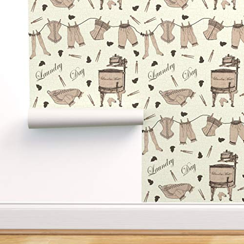 Spoonflower Pre-Pasted Removable Wallpaper, Laundry Vintage Clothes Clothespins Peach Gadgets Geek Retro Outdated Technology Corset Print, Water-Activated Wallpaper, 24in x 144in Roll
