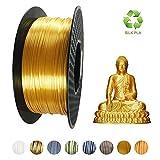 KEHUASHINA PLA-Filament 1,75 mm Durchmesser für 3D-Drucker - Seidengoldgold mit glänzendem Metallglanz - 1 kg Seidenglanzspule (wie echtes Gold wie Metall) - 3D-Druckerzubehör