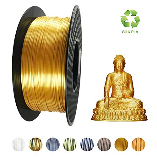 Kehuashina PLA Filament 1.75mm Diameter for 3D Printer - Shiny Metallic Luster Silk Gold Golden - 1kg(2.2LB) Silk Pla Spool (Like Real Gold) - 3D Printer Supplies Accessories
