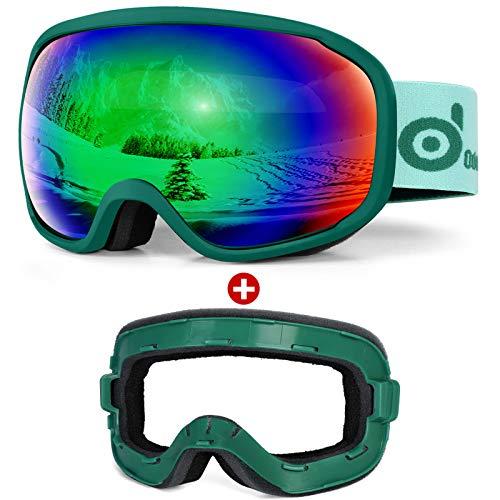 Odoland Ski Goggles Set with Detachable Sponge, OTG Design, Anti-Fog 100% UV Protection Snow Goggles for Men and Women, Helmet Compatible, Green Frame+Mirror Green Lens