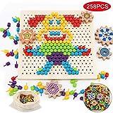 Herefun Tablero de Mosaicos Infantiles, 250 Piezas Mosaicos Botones, Rompecabezas Niños de Uñas Setas, Puzzle Mosaico Juguete Madera Educativo Temprano para Niños y Bebés