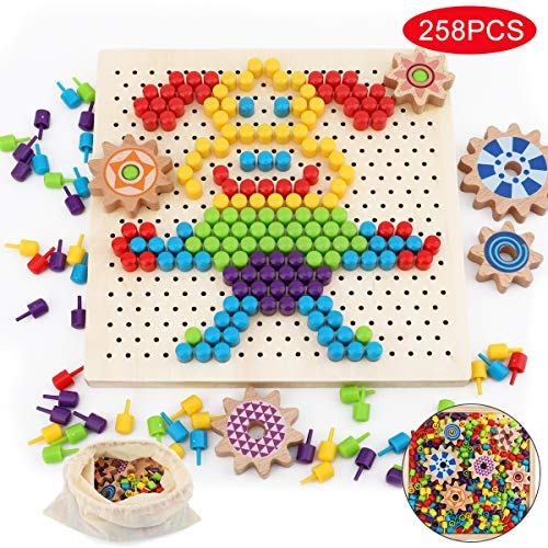 Herefun Mosaik Spielzeug, Steckmosaik Bunte Steckspiel, Holz Mosaik Steckspielzeug Pegboard Puzzle mit 250 Pilznagel, Kinderspielzeug Geschenk, Lernspielzeug Gedächtnistraining Aids für Kinder