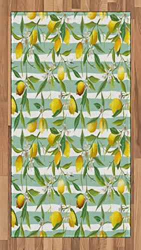 ABAKUHAUS Kunst Teppich, Blühender Zitronenbaum, Deko-Teppich Digitaldruck, Färben mit langfristigen Halt, 80 x 150 cm, Farngrün Seafoam Gelb