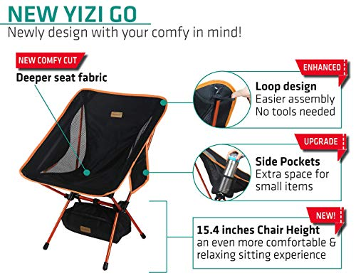 Trekology 2pc YIZI GO Portable Camping Chairs Two Pack, Compact Ultralight Folding Backpacking Chairs, Small Collapsible Foldable Packable Lightweight Backpack Chair for Outdoor, Camp, Picnic, Hiking