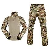 SINAIRSOFT Ten's Tactical Combat Shirt and Pants Set Long Sleeve Multicam Woodland BDU Hunting Military Uniform 1/4 Zip