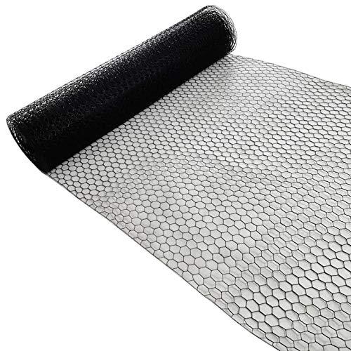 Garmix Sechseckgeflecht 25mm Schwarz 25m Hasendraht Kaninchendraht 1,2mm (50cm, 25m)