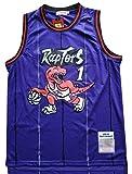 WOLFIRE WF Camiseta de Baloncesto para Hombre, NBA,Toronto Raptors #15 Vince Carter #1 Tracy McGrady Bordado, Transpirable y Resistente al Desgaste Camiseta para Fan Hardwood Classics (MC Morado, S)