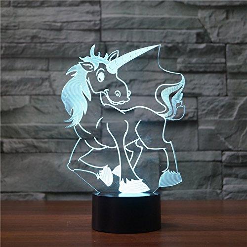 3D cartoon eenhoorn paard optische illusie lampen leuke 7 kleuren wisselende tabel bureau-nachtlampje met USB-kabel voor slaapkamer huis decoratie verjaardag kerstmis cadeau