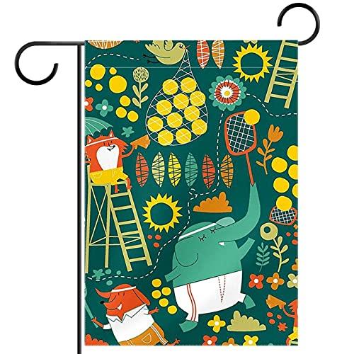 Bienvenida Flor Guirnalda Jardín Bandera Patio Doble Cara tenis Banderas florales de jardín para patio césped hogar decoración exterior primavera