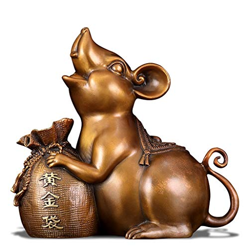 NYKK Buddha Ornament Feng Shui Chinese 2020 Zodiac Rat/Mouse Statue Figurine Home Office Decor For Wealth Luck Feng Shui ornaments