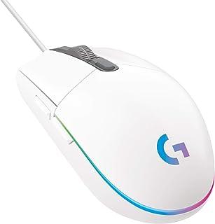 Logitech G203 LIGHTSYNC Ratón con iluminación RGB personalizable para gaming, 6 botones programables, sensor para gaming, seguimiento de hasta 8.000 dpi, peso ligero,G203 2ª Gen.,Blanco